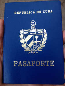A newly issued Cuban passport.