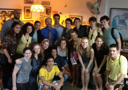 A group of U.S. students in Yoani's and Reinaldo's living room this afternoon.