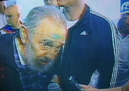 Fidel Castro at his polling place today.