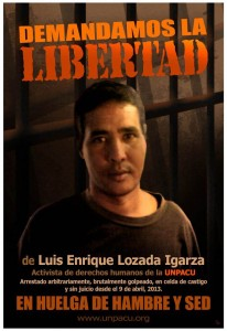"""We demand the release of Luis Enrique Lozada"". Artwork by Rolando Pulido"