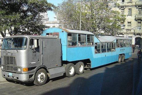 "One of the old ""camel"" buses in Cuba."