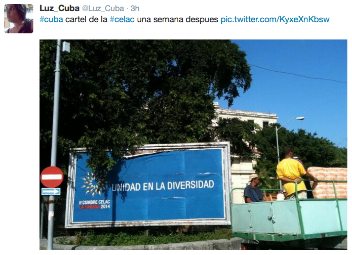 "A CELAC billboard one week later. ""Unity in Diversity"""