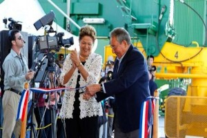 Dilma Ruseau and Raúl Castro inaugurate the Mega Port at Mariel