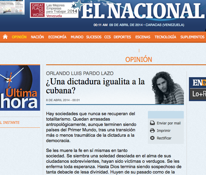 OLPL in el nacional screen shot 9 april 2014