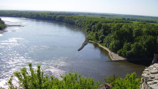 The view from Devin Castle, at the confluence of the Morava and Danube rivers. (Source: Wikipedia)
