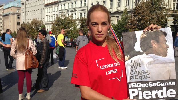Venezuelan Lilian Tintori, wife of Leopoldo Lopez, in Prague