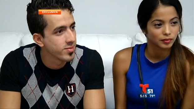 The dancers Ricardo Gil, Yaimara Naranjo during the interview with Telemundo 51.