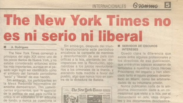 "Granma article against The New York Times, April 24, 2003: ""The New York Times is neither serious nor liberal"""