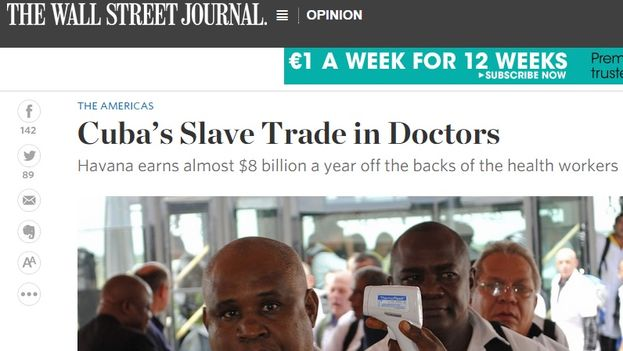 The Column 'Cuba's Slave Trade in Doctors' in 'The Wall Street Journal'