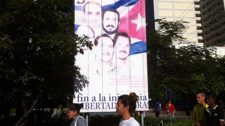 "Poster on a Cuban street demanding the release of ""The Cuban Five"""