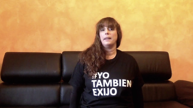 "Tania Bruguera. Slogan on T-Shirt says ""I Also Demand"""