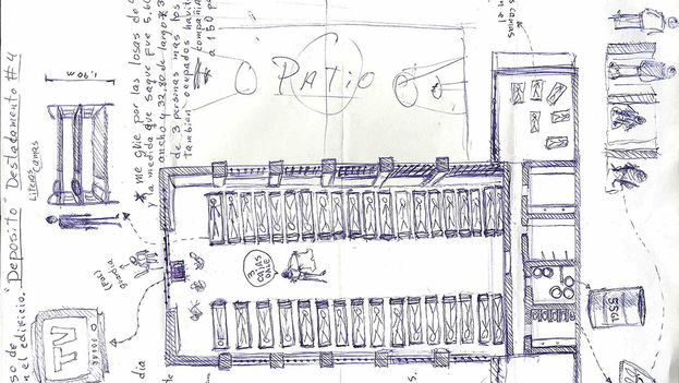 Map of the 4H Company in prison hand drawn by Danilo Maldonado, 'El Sexto'