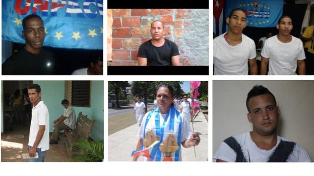 Some of the political prisoners released (Enrique Figuerola, Yordenys Mendoza Coba, Bianko y Diango Vargas Martín, Alexander Otero Rodríguez, Haydeé Gallardo Salázar, Miguel Alberto Ulloa)