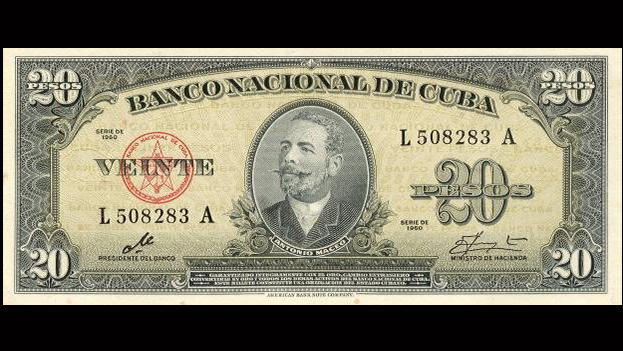 Cuban 20 peso note signed by Che