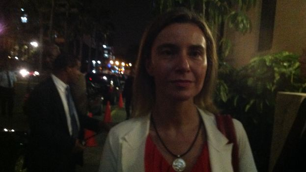Federica Mogherini, just outside the press conference where a reporter from 14ymedio was not allowed to enter