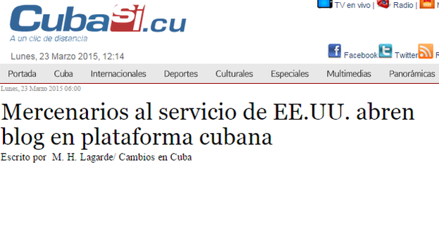 """Mercenaries in service to the US blog on Cuban platform"""