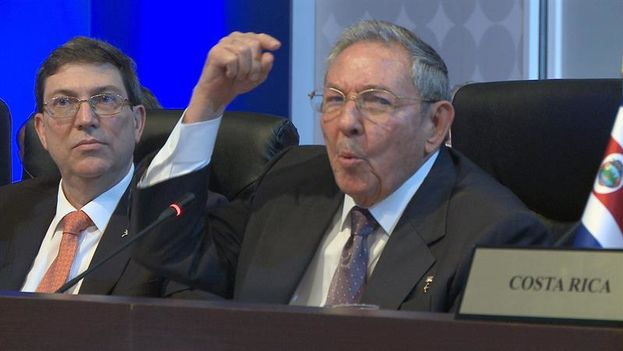Raul Castro during his speech at the Summit of the Americas (EFE Señal Instucional)