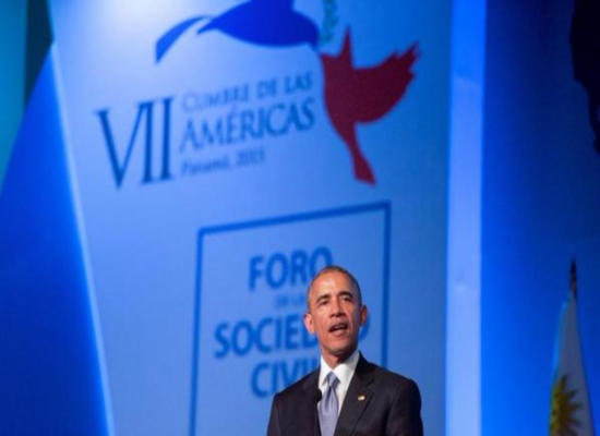 President Obama speaking at the Civil Society Forum at the Summit of the Americas in Panama