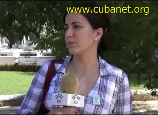 Screen shot from a video of Rosa speaking in Havana after visiting her father's grave at the cemetery
