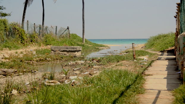Ditch with sewage from the town of Guanabo, east of Havana. (Luz Escobar)