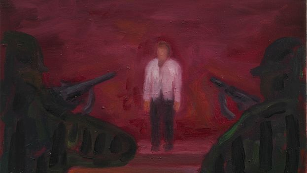 Juan Abreu: '1959. Man Alone,' fragment (oil on canvas, 35 x 27 cm, collection of Carles Enrich)