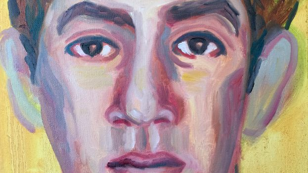 Juan Abreu: '1959. Carlos Baez' (born in 1937, shot in 1965), fragment (oil on canvas, 27 x 35 cm)