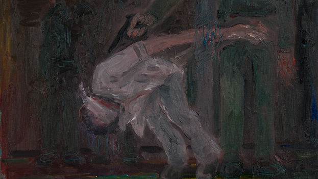 Juan Abreu: '1959. Fall from Grace,' fragment (oil on canvas, 38 x 46 cm)