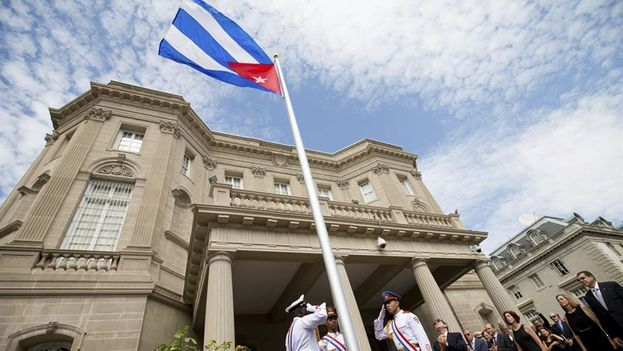 21 -- Cuban Foreign Minister Bruno Rodriguez after hoisting the national flag at the Cuban embassy in Washington. (EFE)