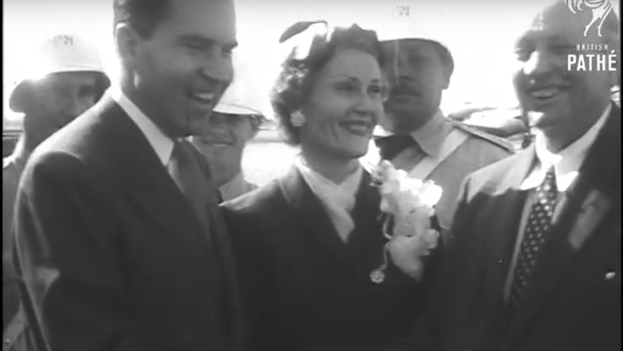 6 -- Nixon with his wife during his visit to Cuba. (Video Capture Archive British Pathé)