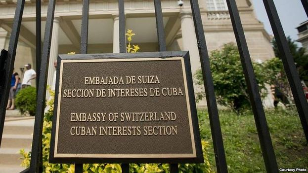 Plaque at the Cuba Interests Section in Washington, protectorate Swiss Embassy