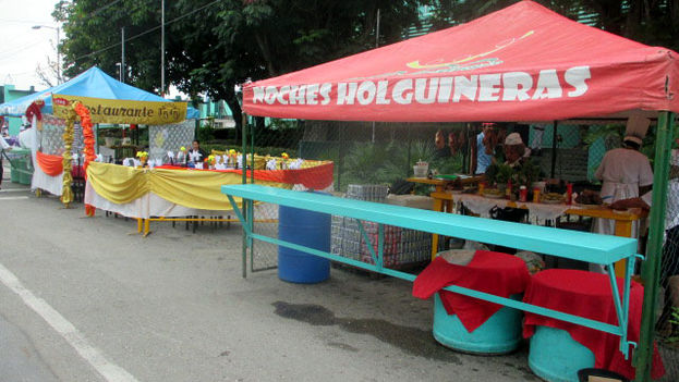 The event 'Holguin nights' had to be suspended after the kiosks were already assembled. (Fernando Donate / 14ymedio)