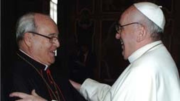 Jaime Cardinal Ortega with Pope Francis I. (Archdiocese of Havana)