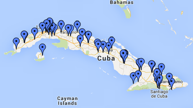 Map of prisons in Cuba drawn up by the Cuban Human Rights Observatory