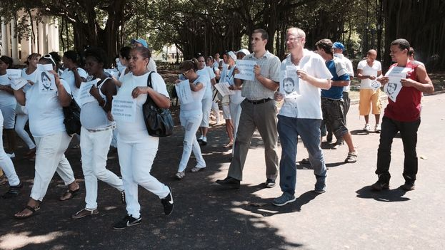 Chilean congressman Felipe Kast (center right) and Antonio Rodiles (center) marching together in Havana. (14ymedio)