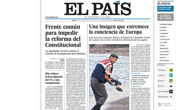 Front page of Spain's El Pais, 3 September