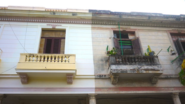 Adjoining apartments in the same building: Among the most deficient products is paint for facades. (Reinaldo Escobar)