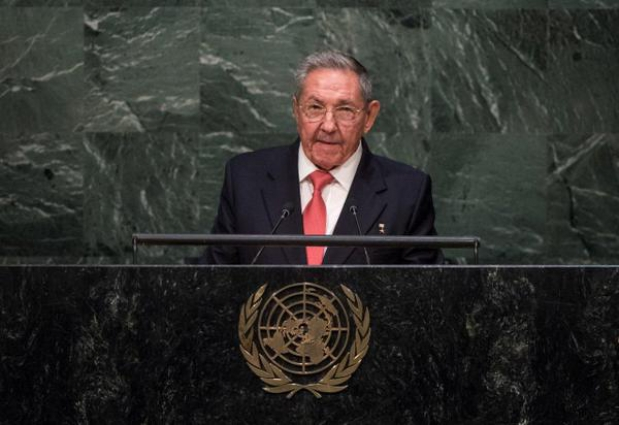 Raul Castro gives his speech at the UN. (UN)