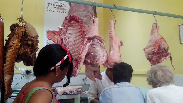 The Golden Pig butcher shop pig in Havana. (14ymedio)