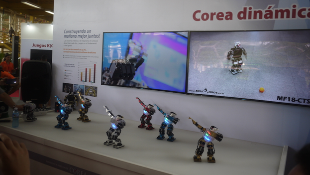 The dancing robots at the South Korean pavilion at the Havana International Fair