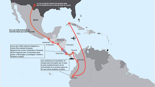 The route of Cuban migration. (14ymedio)