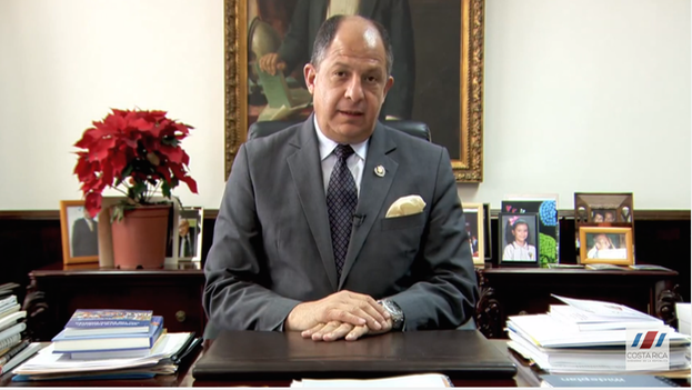 Luis Guillermo Solis, president of Costa Rica, in his message Wednesday. (Youtube / screenshot)