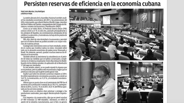 """Reserves of efficiency persist in the Cuban economy,"" Granma newspaper, December 30, 2015"