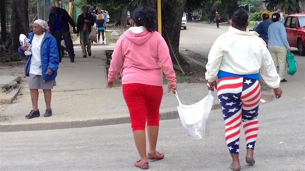 "The stars and stripes, best when it is ""snug"" according to some. (14ymedio)"