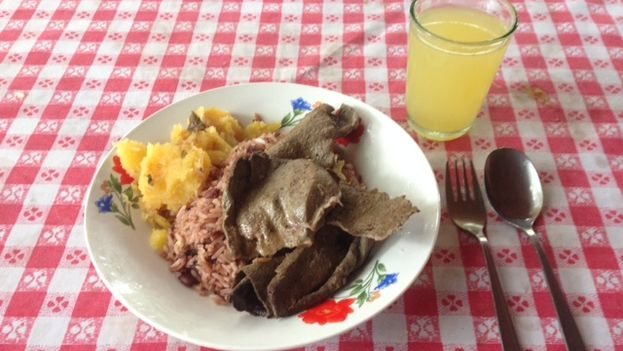 "The ""full meal"" at the Ranchón restaurant in the Youth Labor Army market in Havana. (14ymedio)"