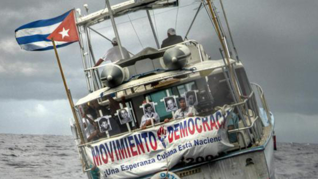 A flotilla marked the 20th anniversary of the 13 de Marzo Tugboat sinking. (Democracy Movement)