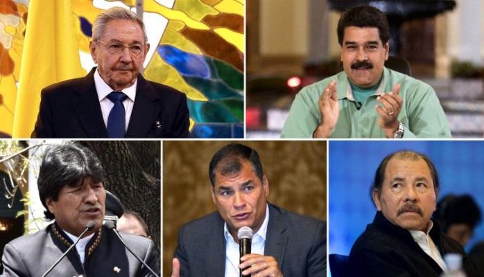 Raul Castro, Nicolas Maduro, evo Morales, Rafael Correa, Daniel Ortega (clockwise from upper left)