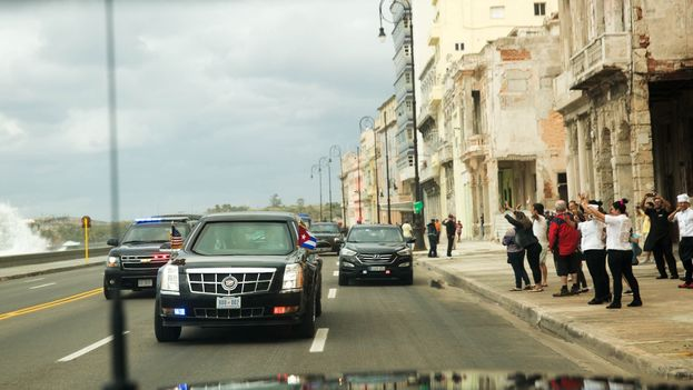 The caravan of United States President Barack Obama, this Monday in Havana (White House)