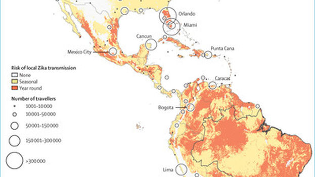 Map predicting the risk of Zika transmission based on the destinations of travelers leaving Brazil. (The Lancet)