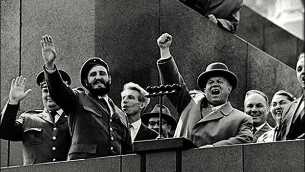 Fidel Castro and Nikita Khrushchev.