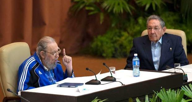 Fidel Castro speaking at the close of the 7th Congress of the Cuban Communist Party in Havana in April